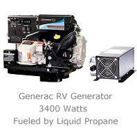 AC RV generator runs on propane, gas or diesel.
