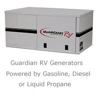 Guardian RV generators can be powered by gas, gasoline, diesel fuel, or even propane gas, LP.