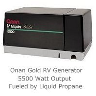 Onan RV portable generator runs on propane.
